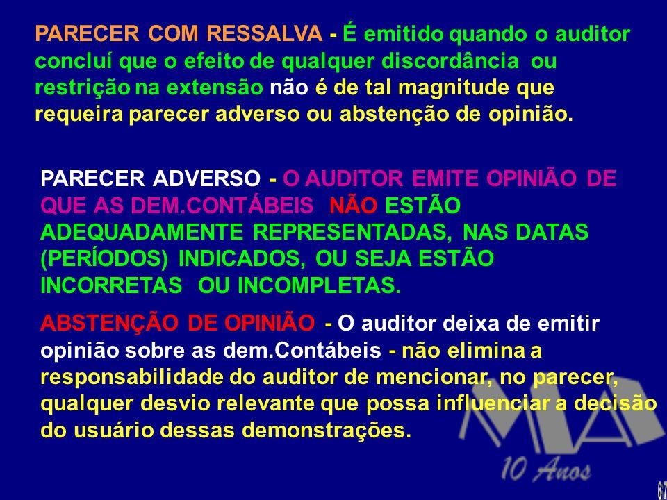 O PARECER CLASSIFICA-SE COMO: (a) PARECER SEM RESSALVA (b) Parecer com ressalva (c )PARECER ADVERSO (d) Parecer com abstenção de opinião SEM RESSALVA