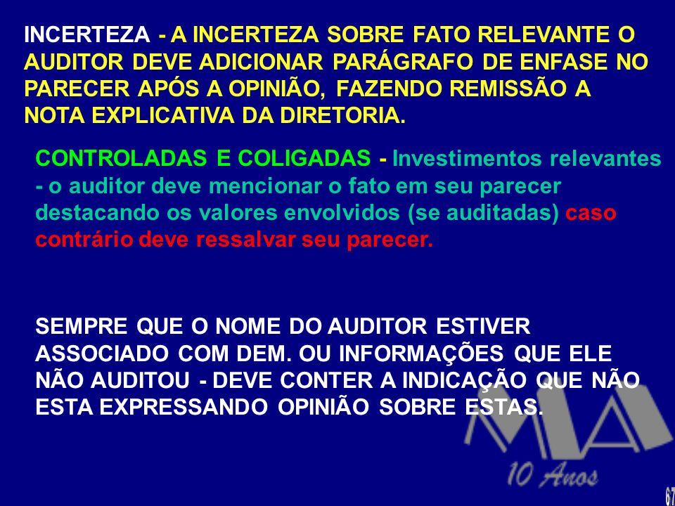 PARECER COM RESSALVA - É emitido quando o auditor concluí que o efeito de qualquer discordância ou restrição na extensão não é de tal magnitude que re