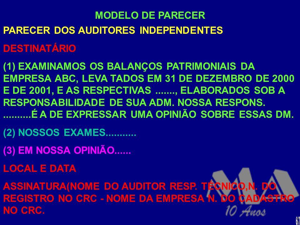 RESOLUÇÃO CFC N. 830/98 - APROVA A NBC T 11-IT-05 PARECER DOS AUDITORES INDEPENDENTES SOBRE AS DEMONSTRAÇÕES CONTÁBEIS COMPOSTO DE 3 PARÁGRAFOS: (a) I