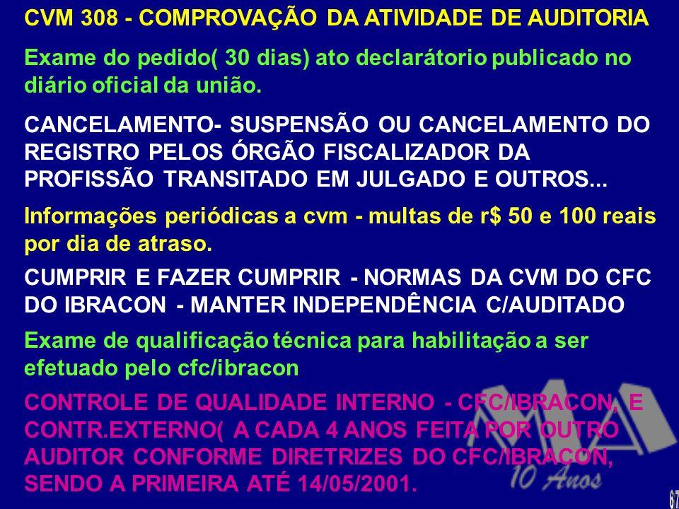 INSTRUÇÃO CVM N. 308 REGISTRO - Duas categorias - físicas (contador) e jurídicas (s/c) - registrado no crc - ter exercido e estar exercendo a atividad