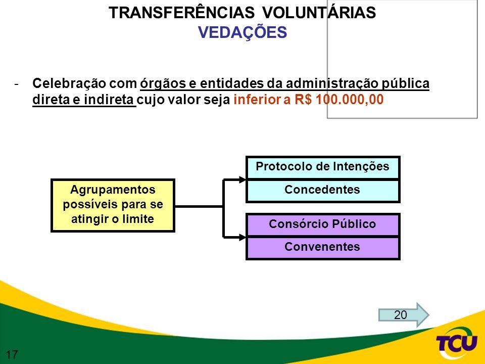 TRANSFERÊNCIAS VOLUNTÁRIAS VEDAÇÕES -Celebração com órgãos e entidades da administração pública direta e indireta cujo valor seja inferior a R$ 100.00