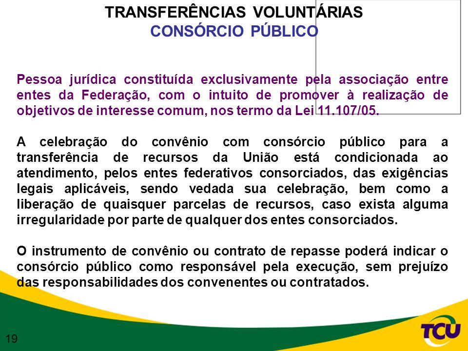 TRANSFERÊNCIAS VOLUNTÁRIAS CONSÓRCIO PÚBLICO Pessoa jurídica constituída exclusivamente pela associação entre entes da Federação, com o intuito de pro