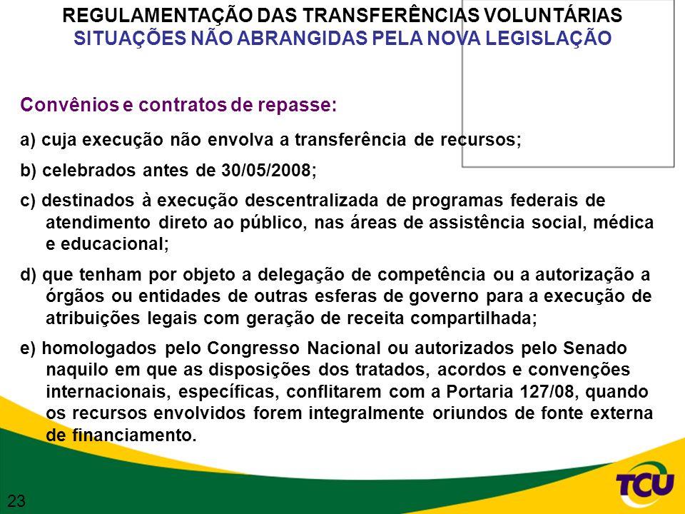 REGULAMENTAÇÃO DAS TRANSFERÊNCIAS VOLUNTÁRIAS SITUAÇÕES NÃO ABRANGIDAS PELA NOVA LEGISLAÇÃO Convênios e contratos de repasse: a) cuja execução não env