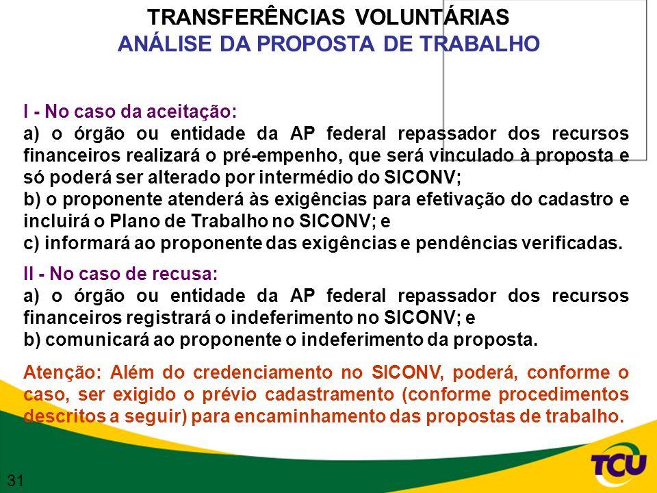 TRANSFERÊNCIAS VOLUNTÁRIAS ANÁLISE DA PROPOSTA DE TRABALHO I - No caso da aceitação: a) o órgão ou entidade da AP federal repassador dos recursos fina