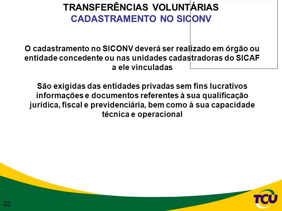 TRANSFERÊNCIAS VOLUNTÁRIAS CADASTRAMENTO NO SICONV O cadastramento no SICONV deverá ser realizado em órgão ou entidade concedente ou nas unidades cada