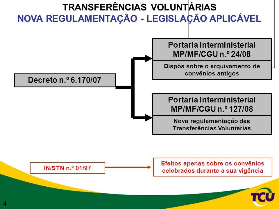 TRANSFERÊNCIAS VOLUNTÁRIAS ARQUIVAMENTO DOS PROCESSOS ANTIGOS Portaria Interministerial MP/MF/CGU n.º 24/08 Arquivamento dos processos de convênios, que atendam cumulativamente às seguintes condições: I - prazo de vigência encerrado até 25/07/2002 II - valor registrado de até R$ 100.000,00 (valor firmado incluindo aditivos) III - prestação de contas ou congênere apresentada até 31/07/2007 Os concedentes deverão publicar no DOU, até 31/12/2008, a relação dos processos arquivados Os instrumentos de transferência de recursos com prazo de vigência vencido até 21/02/2008 que não forem objeto de arquivamento deverão ser analisados por força-tarefa a ser constituída no âmbito de cada concedente, cujos trabalhos deverão ser concluídos até 21/02/2010.