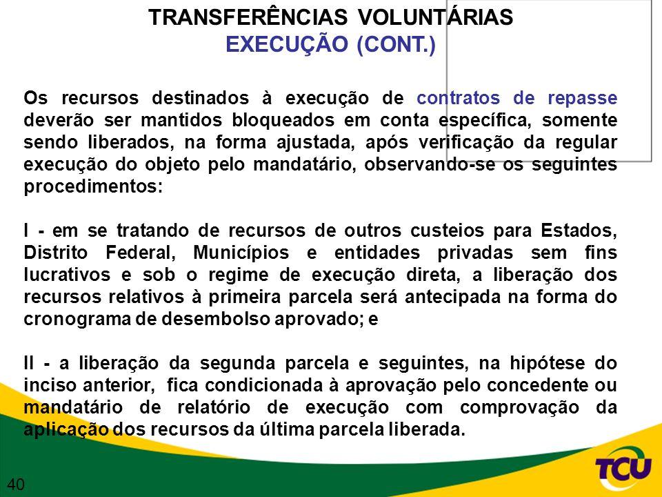 TRANSFERÊNCIAS VOLUNTÁRIAS EXECUÇÃO (CONT.) Os recursos destinados à execução de contratos de repasse deverão ser mantidos bloqueados em conta específ