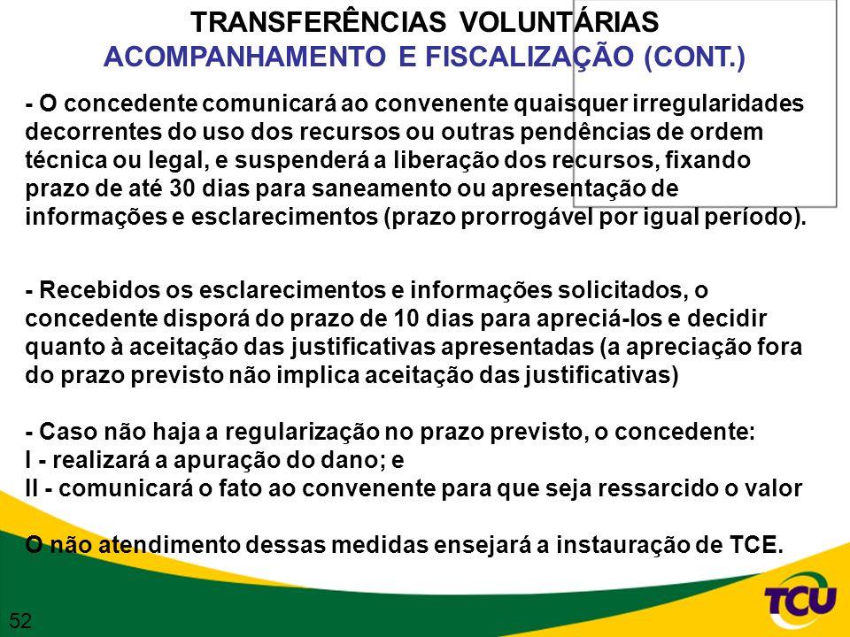 TRANSFERÊNCIAS VOLUNTÁRIAS ACOMPANHAMENTO E FISCALIZAÇÃO (CONT.) - O concedente comunicará ao convenente quaisquer irregularidades decorrentes do uso