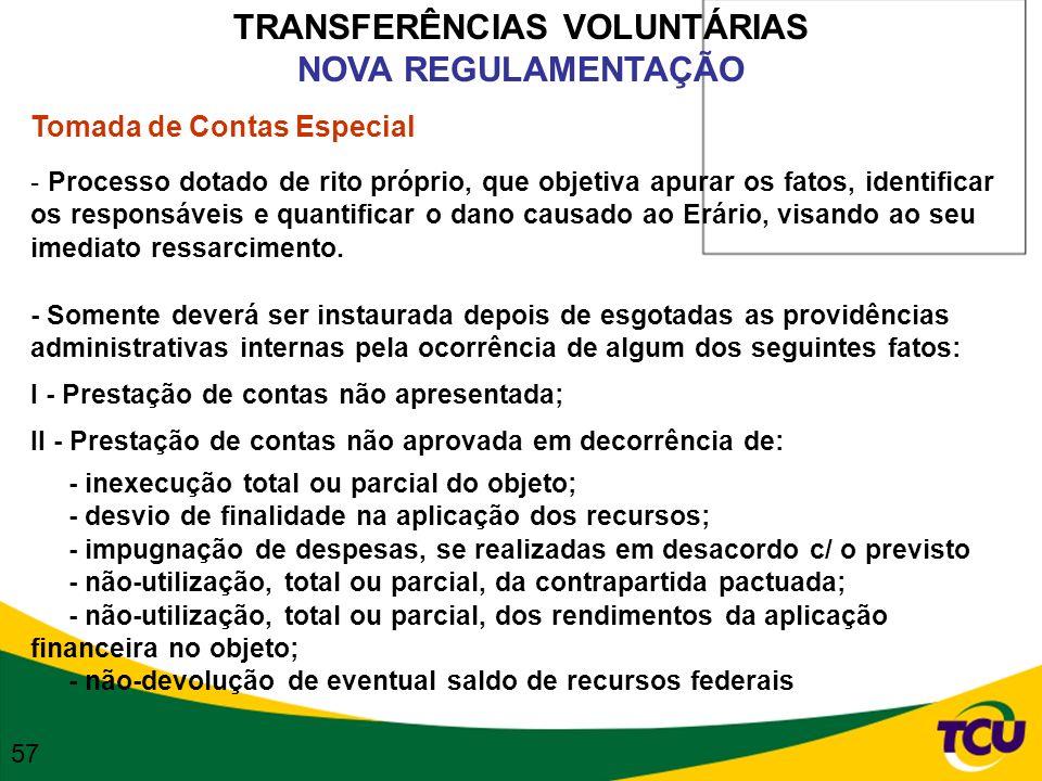TRANSFERÊNCIAS VOLUNTÁRIAS NOVA REGULAMENTAÇÃO Tomada de Contas Especial - Processo dotado de rito próprio, que objetiva apurar os fatos, identificar