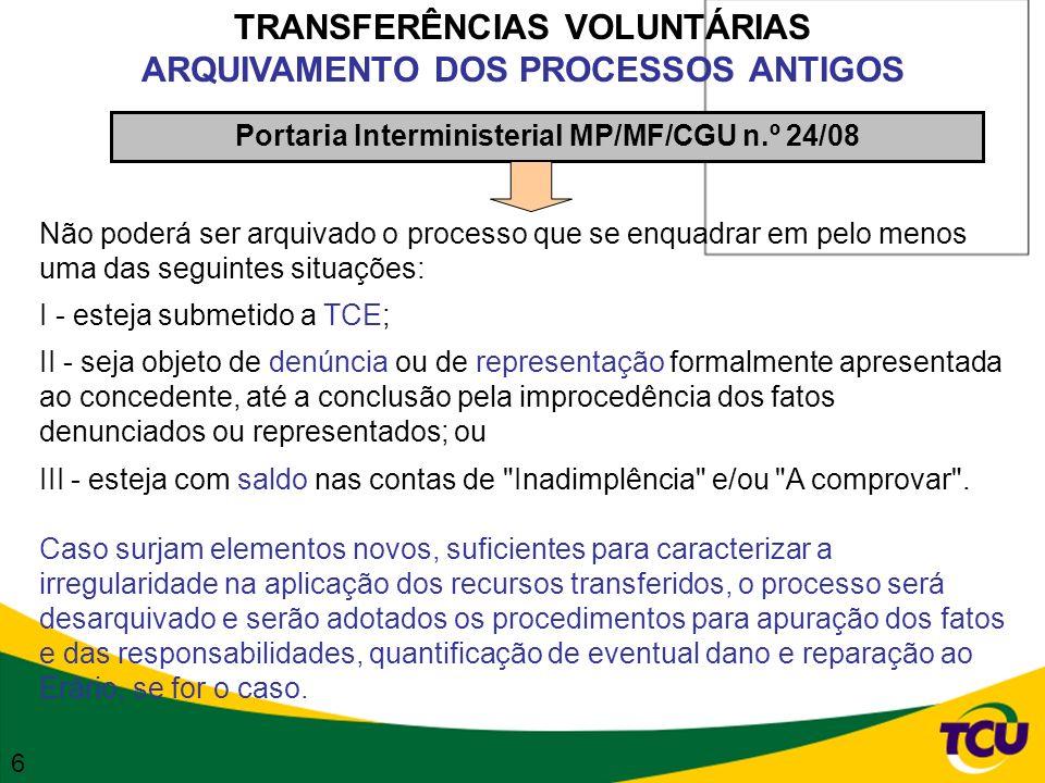 TRANSFERÊNCIAS VOLUNTÁRIAS ARQUIVAMENTO DOS PROCESSOS ANTIGOS Portaria Interministerial MP/MF/CGU n.º 24/08 Não poderá ser arquivado o processo que se