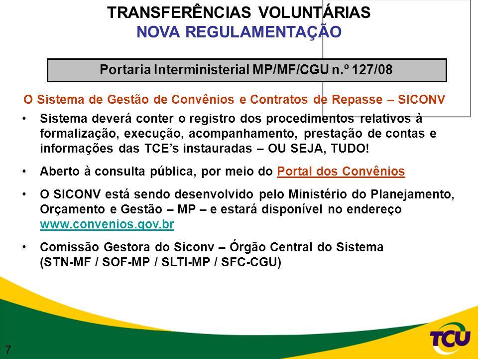 TRANSFERÊNCIAS VOLUNTÁRIAS NOVA REGULAMENTAÇÃO O Sistema de Gestão de Convênios e Contratos de Repasse – SICONV Sistema deverá conter o registro dos p