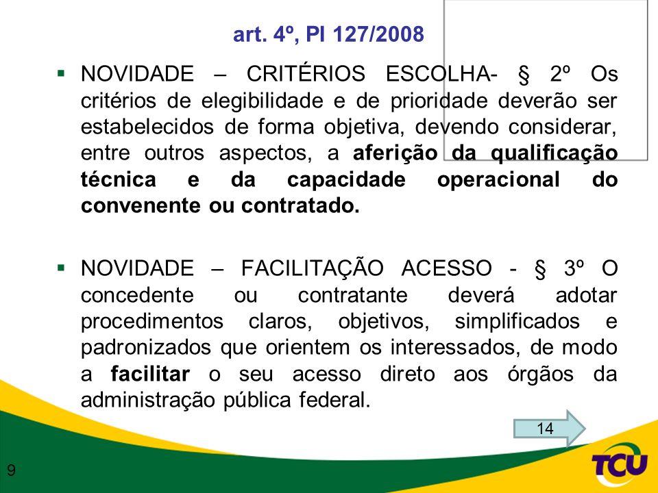 art. 4º, PI 127/2008 NOVIDADE – CRITÉRIOS ESCOLHA- § 2º Os critérios de elegibilidade e de prioridade deverão ser estabelecidos de forma objetiva, dev