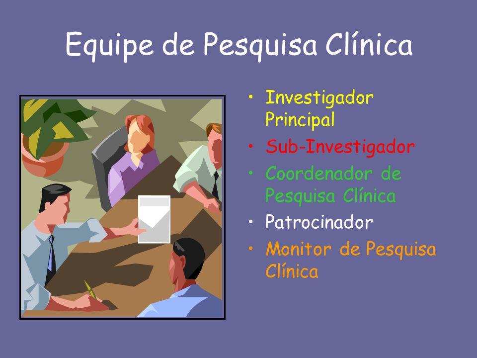 Equipe de Pesquisa Clínica Investigador Principal Sub-Investigador Coordenador de Pesquisa Clínica Patrocinador Monitor de Pesquisa Clínica