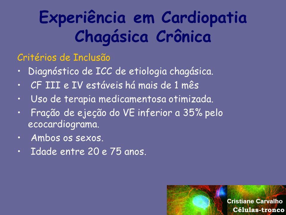 Experiência em Cardiopatia Chagásica Crônica Critérios de Inclusão Diagnóstico de ICC de etiologia chagásica. CF III e IV estáveis há mais de 1 mês Us