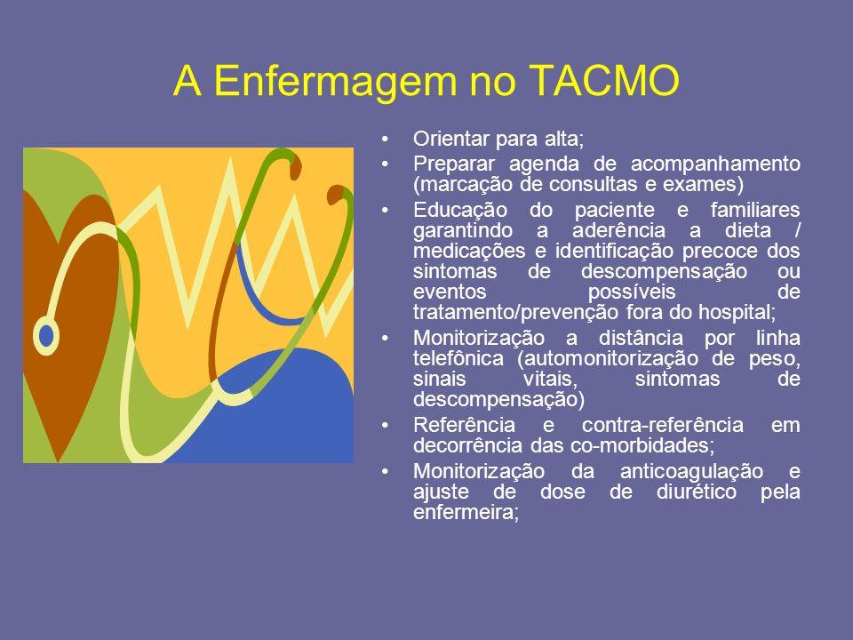 A Enfermagem no TACMO Orientar para alta; Preparar agenda de acompanhamento (marcação de consultas e exames) Educação do paciente e familiares garanti