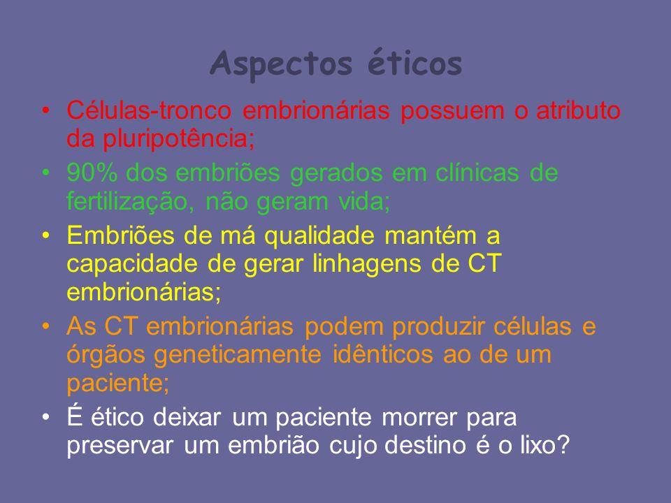 Aspectos éticos Células-tronco embrionárias possuem o atributo da pluripotência; 90% dos embriões gerados em clínicas de fertilização, não geram vida;