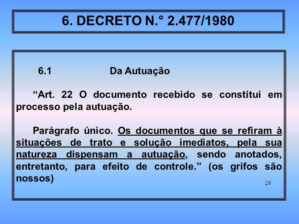 28 6.1 Da Autuação Art.22 O documento recebido se constitui em processo pela autuação.
