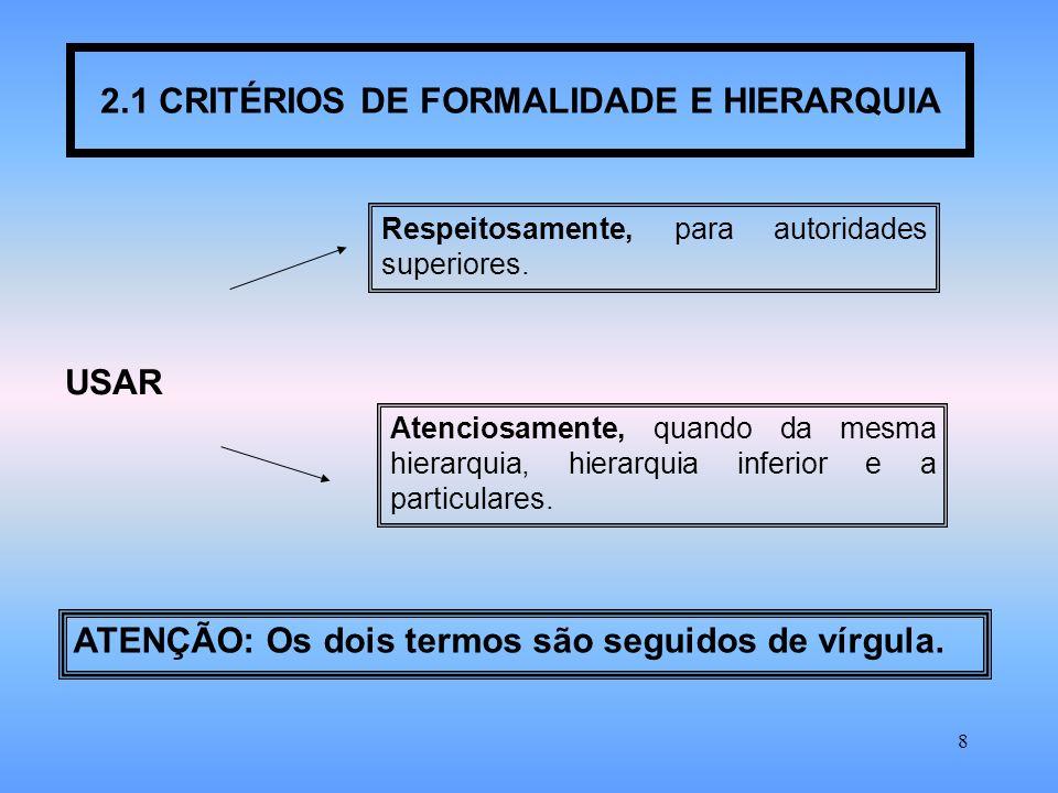 8 2.1 CRITÉRIOS DE FORMALIDADE E HIERARQUIA USAR Respeitosamente, para autoridades superiores.