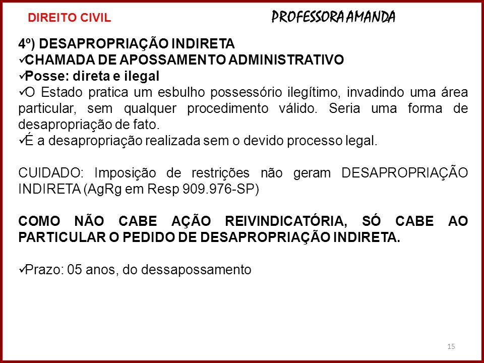 15 4º) DESAPROPRIAÇÃO INDIRETA CHAMADA DE APOSSAMENTO ADMINISTRATIVO Posse: direta e ilegal O Estado pratica um esbulho possessório ilegítimo, invadin