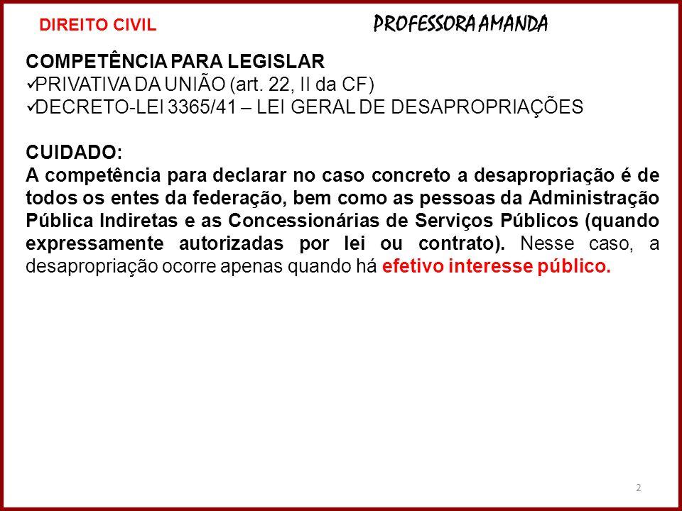 2 COMPETÊNCIA PARA LEGISLAR PRIVATIVA DA UNIÃO (art. 22, II da CF) DECRETO-LEI 3365/41 – LEI GERAL DE DESAPROPRIAÇÕES CUIDADO: A competência para decl