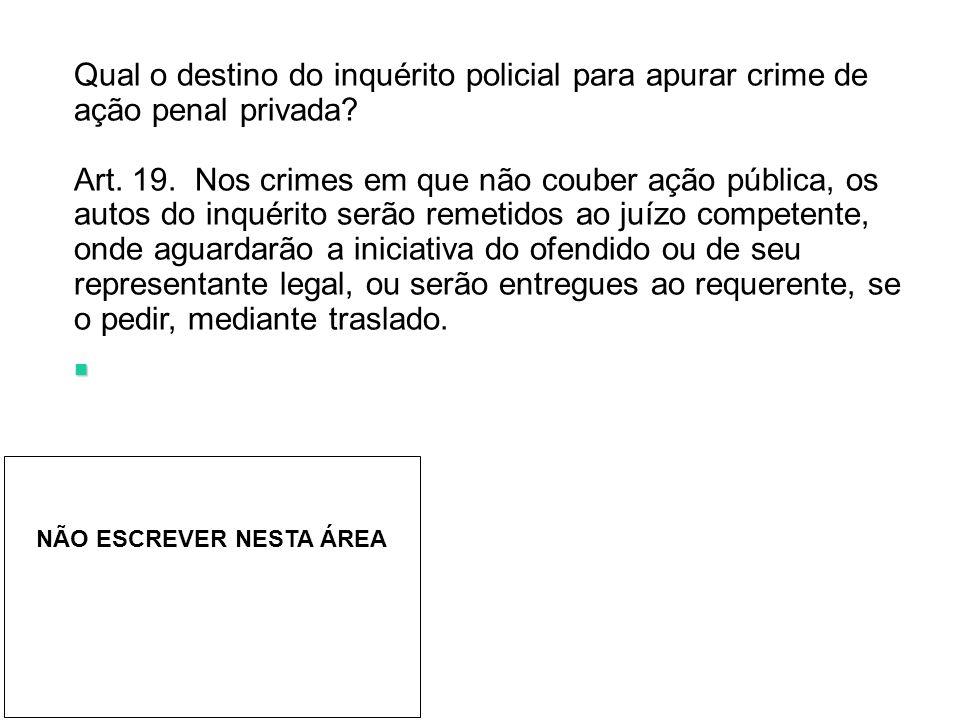 Qual o destino do inquérito policial para apurar crime de ação penal privada.