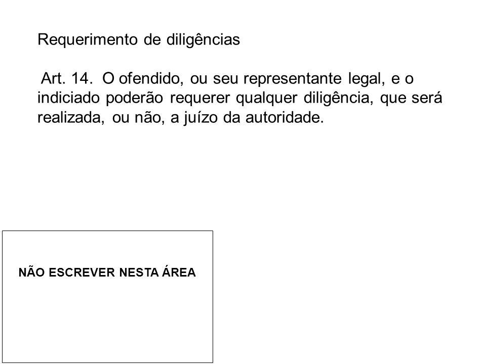 Requerimento de diligências Art.14.