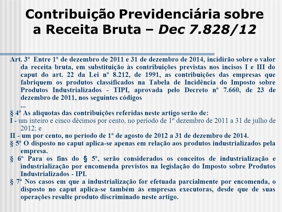 Contribuição Previdenciária sobre a Receita Bruta – Dec 7.828/12 Art. 3º Entre 1º de dezembro de 2011 e 31 de dezembro de 2014, incidirão sobre o valo