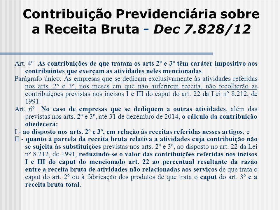 Contribuição Previdenciária sobre a Receita Bruta - Dec 7.828/12 Art. 4º As contribuições de que tratam os arts 2º e 3º têm caráter impositivo aos con