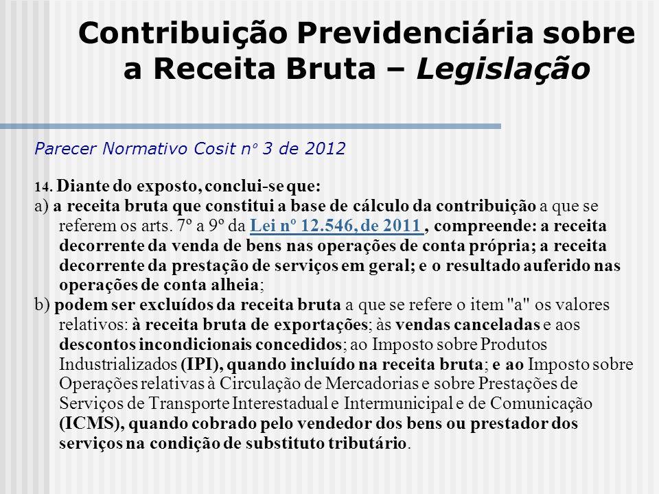 Contribuição Previdenciária sobre a Receita Bruta – Legislação Parecer Normativo Cosit n º 3 de 2012 14. Diante do exposto, conclui-se que: Lei nº 12.