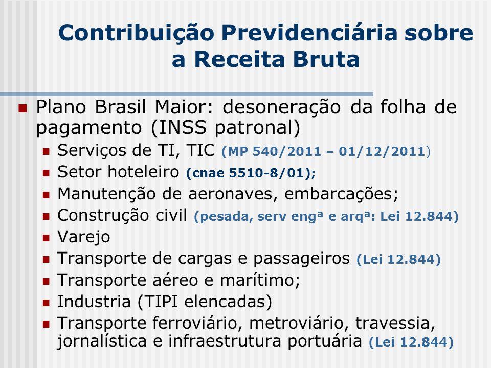 Contribuição Previdenciária sobre a Receita Bruta Plano Brasil Maior: desoneração da folha de pagamento (INSS patronal) Serviços de TI, TIC (MP 540/20