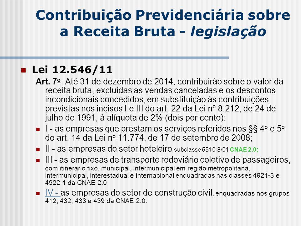 Contribuição Previdenciária sobre a Receita Bruta - legislação Lei 12.546/11 Art. 7 o Até 31 de dezembro de 2014, contribuirão sobre o valor da receit