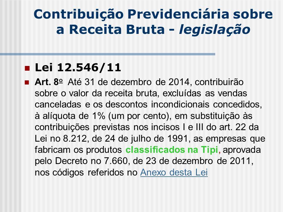 Contribuição Previdenciária sobre a Receita Bruta - legislação Lei 12.546/11 Anexo desta Lei Anexo desta Lei Art. 8 o Até 31 de dezembro de 2014, cont