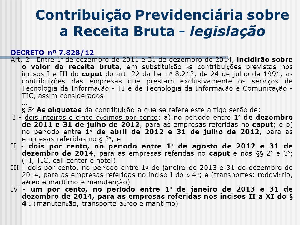 Contribuição Previdenciária sobre a Receita Bruta - legislação DECRETO nº 7.828/12 Art. 2 º Entre 1 º de dezembro de 2011 e 31 de dezembro de 2014, in