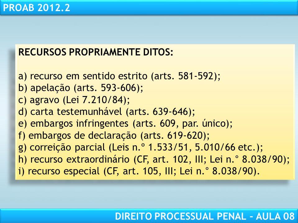 RESPONSABILIDADE CIVIL AULA 1 PROAB 2012.2 DIREITO PROCESSUAL PENAL – AULA 08 RECURSOS PROPRIAMENTE DITOS: a) recurso em sentido estrito (arts.