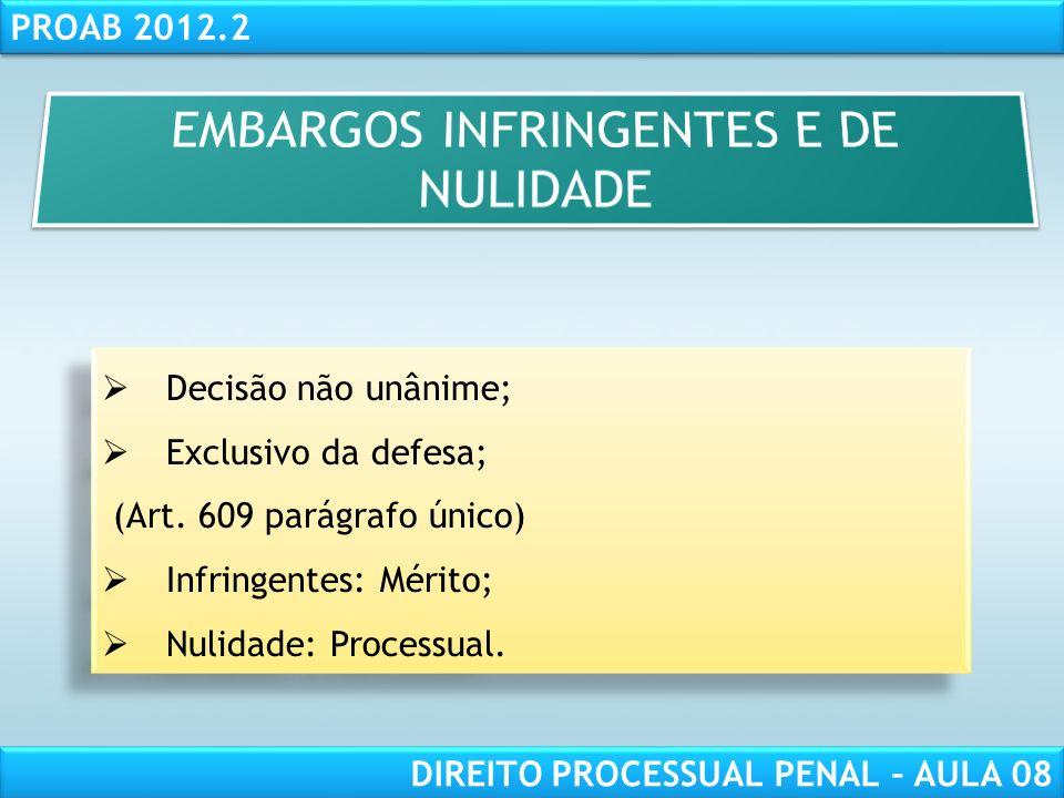 RESPONSABILIDADE CIVIL AULA 1 PROAB 2012.2 DIREITO PROCESSUAL PENAL – AULA 08 Decisão não unânime; Exclusivo da defesa; (Art.