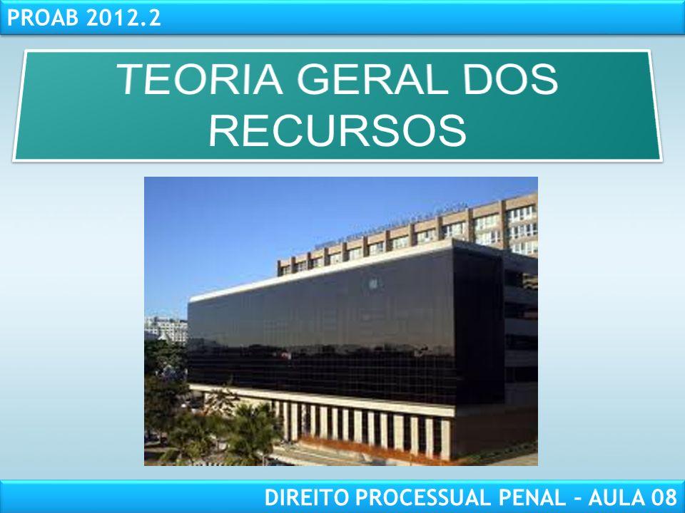 RESPONSABILIDADE CIVIL AULA 1 PROAB 2012.2 DIREITO PROCESSUAL PENAL – AULA 08
