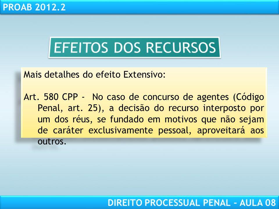 RESPONSABILIDADE CIVIL AULA 1 PROAB 2012.2 DIREITO PROCESSUAL PENAL – AULA 08 Mais detalhes do efeito Extensivo: Art.