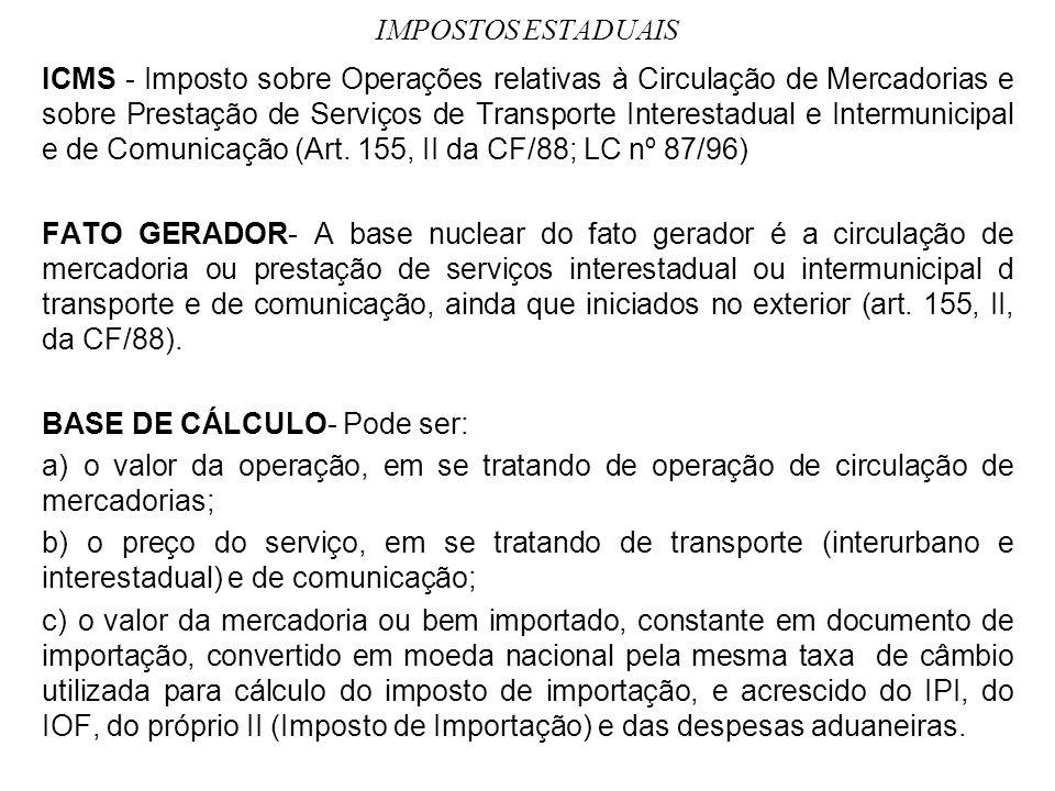 IMPOSTOS ESTADUAIS ICMS - Imposto sobre Operações relativas à Circulação de Mercadorias e sobre Prestação de Serviços de Transporte Interestadual e In