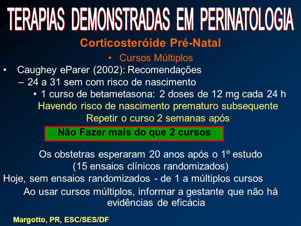 Corticosteróide Pré-Natal Cursos Múltiplos Caughey eParer (2002): Recomendações –24 a 31 sem com risco de nascimento 1 curso de betametasona: 2 doses
