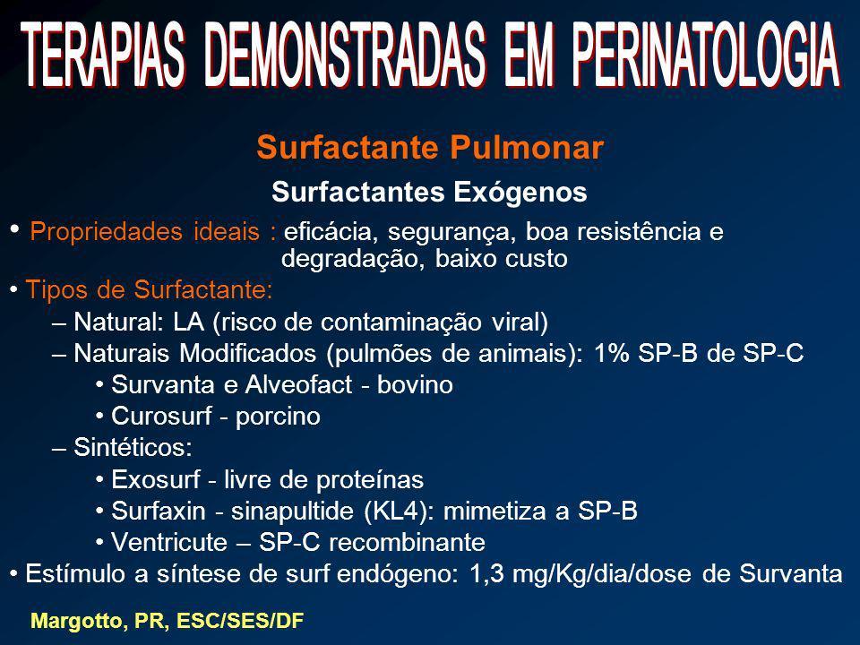 Surfactante Pulmonar Surfactantes Exógenos Propriedades ideais : eficácia, segurança, boa resistência e degradação, baixo custo Tipos de Surfactante:
