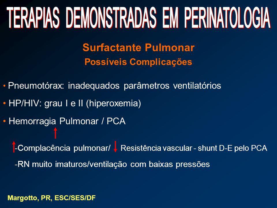 Surfactante Pulmonar Possíveis Complicações Pneumotórax: inadequados parâmetros ventilatórios HP/HIV: grau I e II (hiperoxemia) Hemorragia Pulmonar /