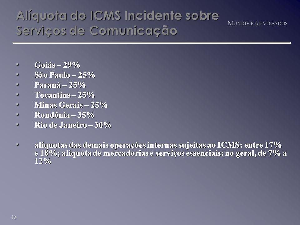 13 M UNDIE E A DVOGADOS Alíquota do ICMS Incidente sobre Serviços de Comunicação Goiás – 29% Goiás – 29% São Paulo – 25% São Paulo – 25% Paraná – 25% Paraná – 25% Tocantins – 25% Tocantins – 25% Minas Gerais – 25% Minas Gerais – 25% Rondônia – 35% Rondônia – 35% Rio de Janeiro – 30% Rio de Janeiro – 30% alíquotas das demais operações internas sujeitas ao ICMS: entre 17% e 18%; alíquota de mercadorias e serviços essenciais: no geral, de 7% a 12% alíquotas das demais operações internas sujeitas ao ICMS: entre 17% e 18%; alíquota de mercadorias e serviços essenciais: no geral, de 7% a 12%