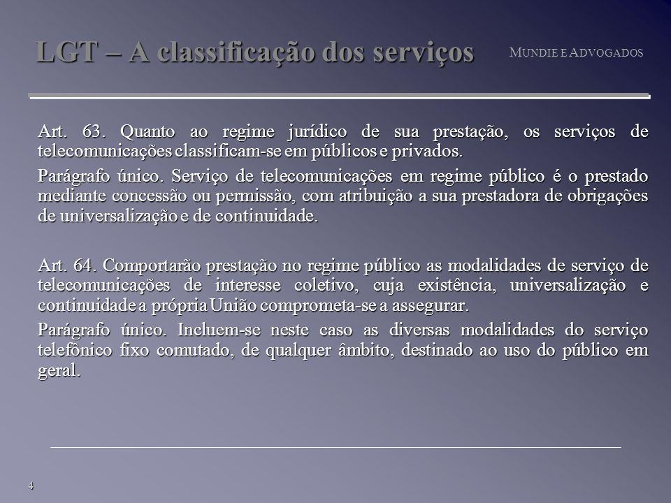 4 M UNDIE E A DVOGADOS LGT – A classificação dos serviços Art.