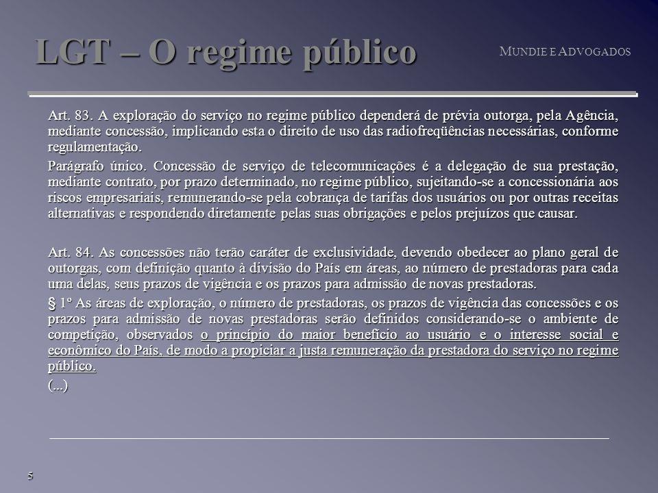 5 M UNDIE E A DVOGADOS LGT – O regime público Art.