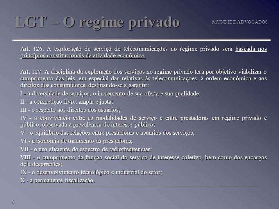 6 M UNDIE E A DVOGADOS LGT – O regime privado Art.