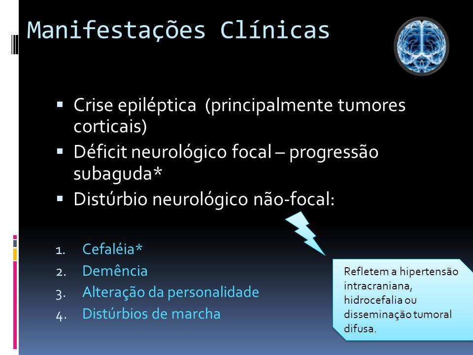 ASTROCITOMAS ASTROCITOMAS PILOCÍTICOS - C - Cerebelo e nervo óptico - Predominam em crianças - Grau de malignidade baixo (grau I da OMS) ASTROCITOMAS DIFUSOS - Hemisférios cerebrais - Adultos - Todos os astrocitomas difusos são considerados no mínimo de grau histológico II - Os graus são atribuidos segundo a presença dos seguintes critérios: atipias nucleares, mitoses, proliferação vascular e necrose.