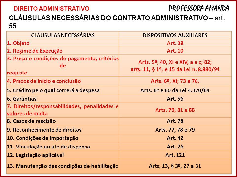 10 CLÁUSULAS NECESSÁRIAS DO CONTRATO ADMINISTRATIVO – art. 55 10 DIREITO ADMINISTRATIVO PROFESSORA AMANDA