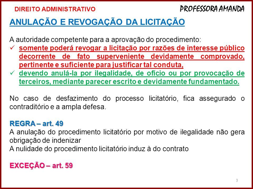3 ANULAÇÃO E REVOGAÇÃO DA LICITAÇÃO A autoridade competente para a aprovação do procedimento: somente poderá revogar a licitação por razões de interes