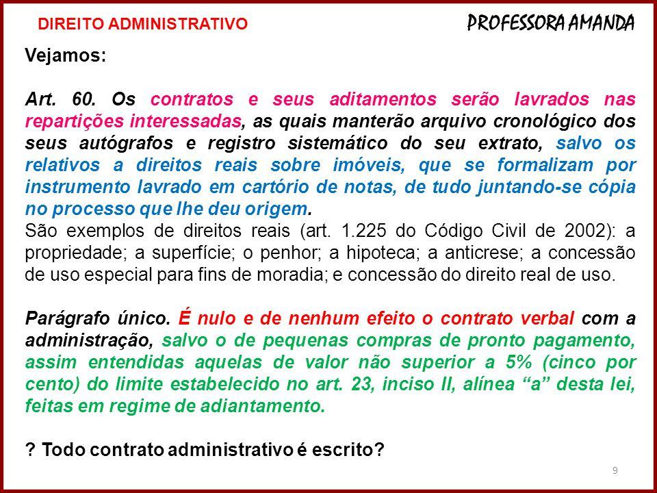 10 CLÁUSULAS NECESSÁRIAS DO CONTRATO ADMINISTRATIVO – art.