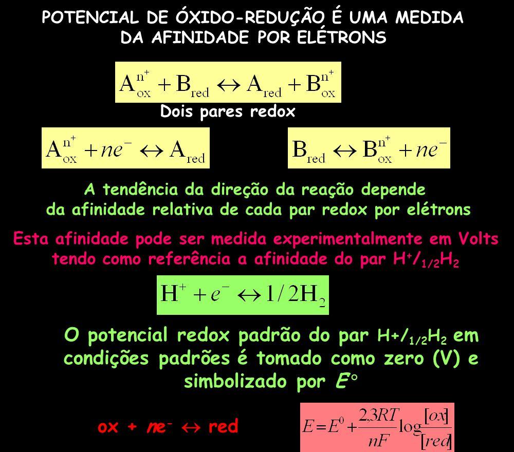 Dois pares redox O potencial redox padrão do par H+/ 1/2 H 2 em condições padrões é tomado como zero (V) e simbolizado por E A tendência da direção da